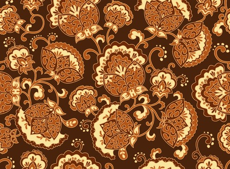 Vintage brown floral seamless pattern. Ethnic ornament. Stylized decorative flowers in folk art style. Traditional handcraft. Seamless texture in brown and ocher colors on dark background. Vector illustration.