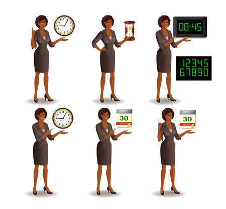 african american business woman: Set of smiling African American business woman points to the deadline. Girl in suit with clock, hourglass, digital clock and tear-of calendar. Vector illustration isolated on white background.