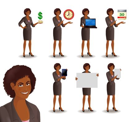 show bill: Set of smiling African American businesswoman. Cute girl in suit standing in different presentation poses: with dollars, clock, laptop, tablet, calendar, placard, sheet of paper. Vector illustration isolated on white background. Vectores