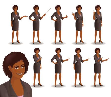 L'insieme della donna di affari afroamericana sorridente in vestito che sta nelle pose differenti di presentazione. Illustrazione vettoriale isolato su sfondo bianco.