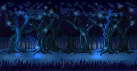 Panorama cartoon background of an oak forest. Seamless parallax for 2D arcade computer game. Glade and trees at dark night in light of moon. Vector illustration Illustration