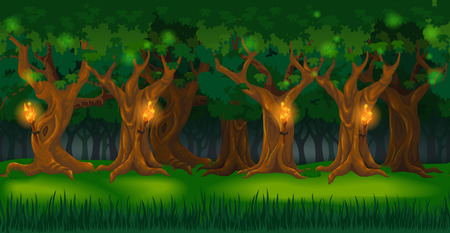 Panorama cartoon background of an oak forest. Seamless parallax for 2D arcade computer game. Glade of green grass and trees lit by torches at night. Vector illustration Illustration