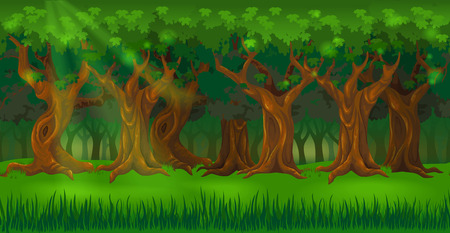 Panorama cartoon background of an oak forest. Seamless parallax for 2D arcade computer game. Glade of green grass and trees at sunny day. Vector illustration