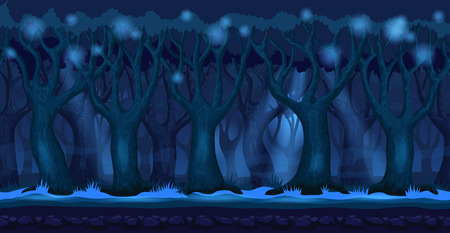 Panorama cartoon background of a forest. Seamless parallax for 2D arcade video game. Mystical landscape in dark blue colors at night. Vector illustration
