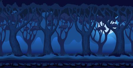 森のパノラマ漫画背景。2D アーケード ビデオ ゲームのシームレスな視差。月明かりに照らされた夜の暗い青い色の神秘的な風景です。草や木や山々  イラスト・ベクター素材