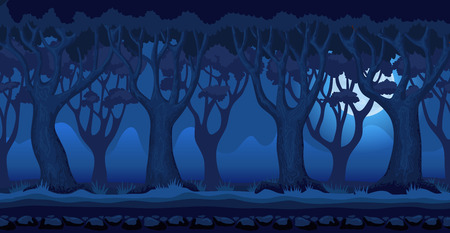 Panorama cartoon background of a forest. Seamless parallax for 2D arcade video game. Mystical landscape in dark blue colors at moonlit night. Glade of grass, trees and mountains far away. Vector illustration Illustration