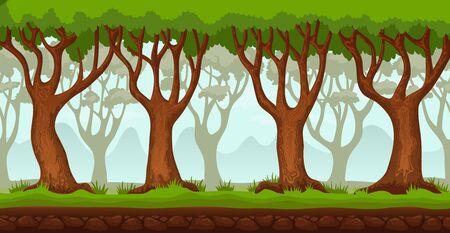 パノラマ漫画風景の背景。2D アーケード ビデオ ゲームのシームレスな視差。緑の草や木や山々、遠くの空き地。ベクトル図