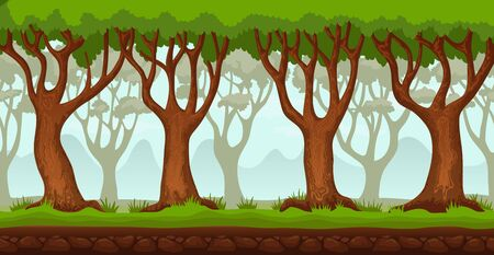 Panorama cartoon landscape background. Seamless parallax for 2D arcade video game. Glade of green grass, trees and mountains far away. Vector illustration