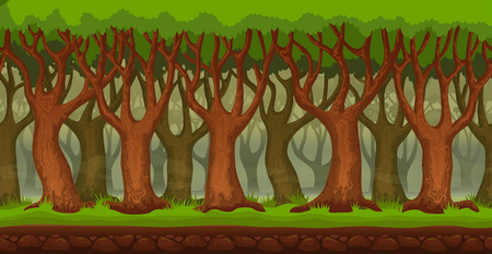 Panorama cartoon dense forest background. Seamless parallax for 2D arcade video game. Glade of green grass, trees and forest thicket. Vector illustration
