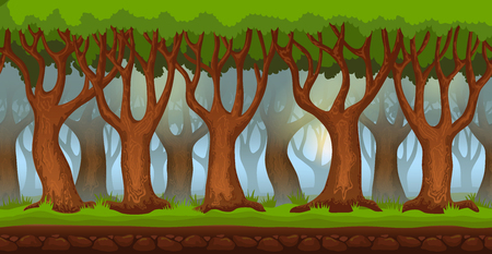 Panorama cartoon background of the forest in the morning. Seamless parallax for 2D arcade video game. Glade of green grass and trees against morning blue sky. Vector illustration Ilustração