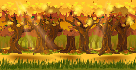 Panorama cartoon autumn forest background. Seamless parallax for 2D arcade video game. Glade of green grass and mushrooms, trees with yellow leaves. Vector illustration Vectores
