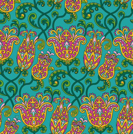 indian traditional: Vintage floral seamless pattern. Ethnic ornament. Stylized decorative flowers in folk style. Traditional handcraft. Seamless texture in bright colors. Vector illustration.