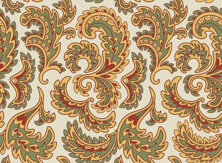 Vintage floral seamless pattern. Ethnic ornament. Stylized decorative leaves in folk style. Traditional handcraft. Seamless texture in retro colors. Vector illustration.