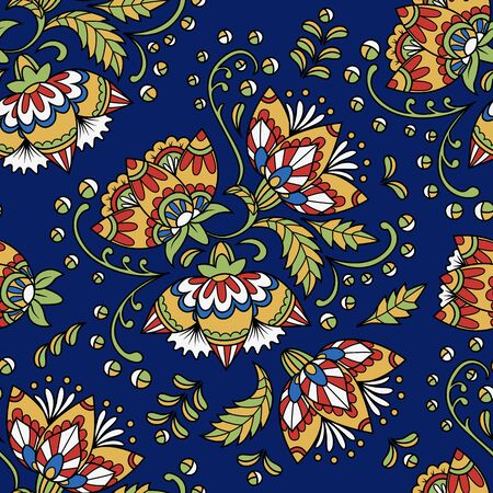 indian traditional: Vintage floral seamless pattern. Ethnic ornament. Stylized decorative flowers in folk style. Traditional handcraft. Seamless texture in bright colors on dark blue background. Vector illustration.