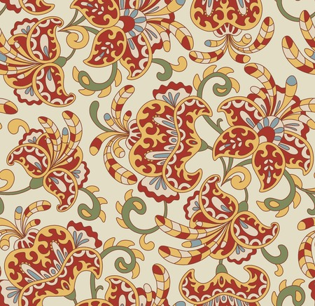 bage: Vintage floral seamless pattern. Ethnic ornament. Stylized decorative flowers in folk style. Traditional handcraft. Seamless texture in bright colors on bage background. Vector illustration.