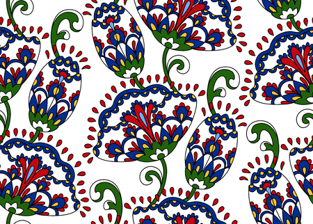 Vintage floral seamless pattern. Ethnic ornament. Stylized decorative flowers in folk style. Traditional handcraft. Seamless texture in red and blue colors on white background. Vector illustration. Vettoriali