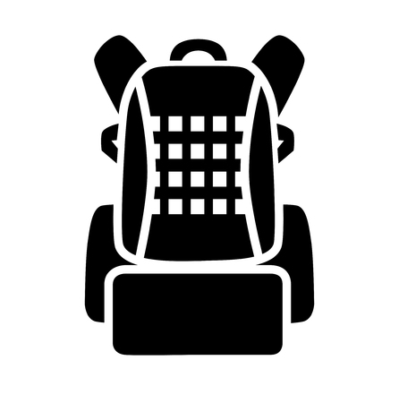 hiking: Monochrome silhouette of backpack icon. Stylized simplified symbol of rucksack.  Knapsack. Schoolbag. Sack. Vector illustration. Black and white Illustration