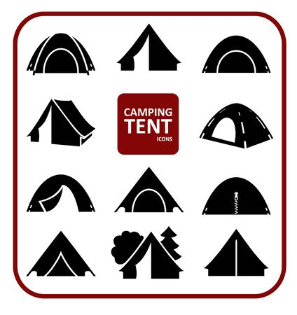 Set of monochrome silhouette camping tent icons. Collection of black stylized simplified symbols isolated on white background.  Vector illustration. Ilustração