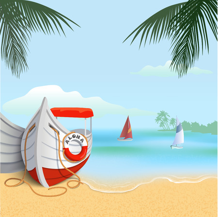 Square background of tropical sandy beach with boats. Blue sky, ocean, sand and palm trees. Vocation web banner. Stock vector illustration.