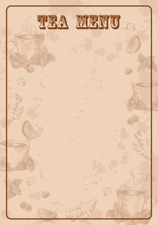 Vertical vintage background with hand drawn tea elements. Template of menu in retro style in light brown colors. Stock vector illustration.