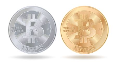 Physical bitcoin cryptocurrency. Set of silver and golden coin isolated on white background. Illustration