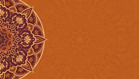 Horizontal brown background with oriental round pattern vector illustration. Иллюстрация