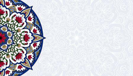 Horizontal white background with oriental round pattern vector illustration.