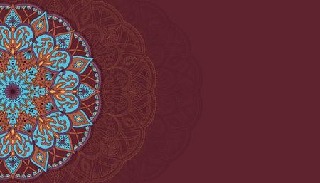 Horizontal brown background with oriental round pattern vector illustration. Illustration