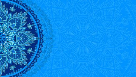 Horizontal light blue background with oriental round pattern vector illustration.