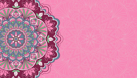 Horizontal pink background with oriental round pattern vector illustration. Иллюстрация