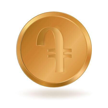 Realistic golden coin with currency symbol Illustration
