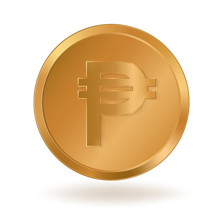 Realistic golden coin with Peso sign Иллюстрация