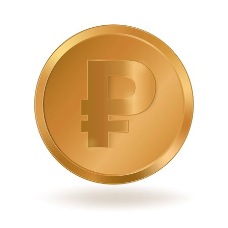 Realistic golden coin with Ruble sign