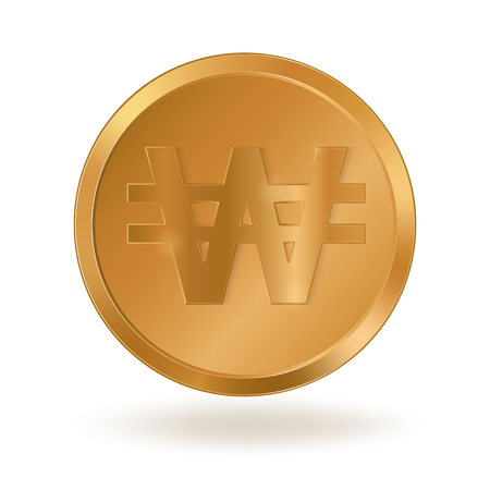 Realistic golden coin with Won sign