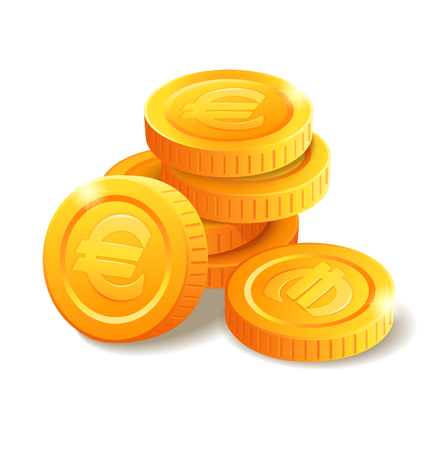 Pile of golden coins with Euro symbol. Money stack. Heap of stylized cartoon gold coins isolated on white background. Stock vector illustration