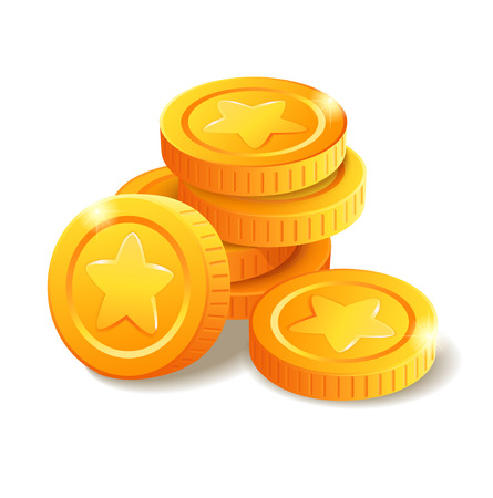 Pile of golden coins with star symbol. Money stack. Heap of stylized cartoon gold coins isolated on white background. Stock vector illustration Vettoriali
