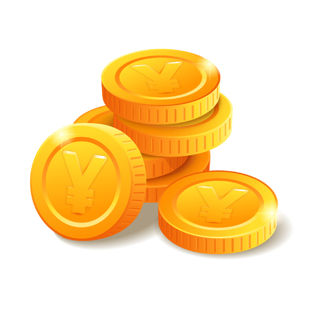 Pile of golden coins with Yen symbol. Money stack. Heap of stylized cartoon gold coins isolated on white background. Stock vector illustration