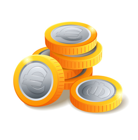 Pile of golden and silvery coins with Euro symbol. Money stack. Heap of stylized cartoon gold coins isolated on white background. Stock vector illustration