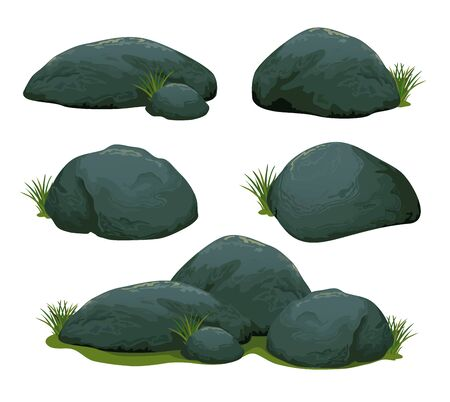 Set of rock stones different shapes and sized. Collection of gray cobblestones isolated on white background. Stock vector illustration.