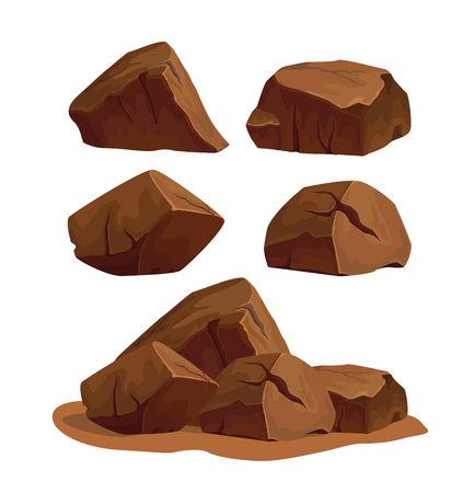Set of rock stones different shapes and sized. Collection of brown boulders isolated on white background. Stock vector illustration.