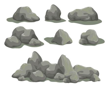 Reeks rotsstenen verschillende vormen en met maat. Inzameling van grijze keien die op witte achtergrond wordt geïsoleerd. Voorraad vectorillustratie