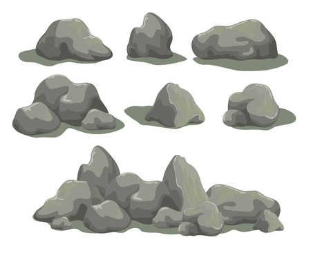 Set of rock stones different shapes and sized. Collection of gray boulders isolated on white background. Stock vector illustration.