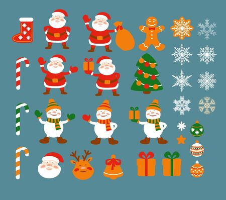 Set of cartoon simple elements for Christmas design in flat style: Santa Clause, snowmen, gift box, Christmas tree, decoration, deer head, snowflakes, bell, gingerbread men. Vector.  イラスト・ベクター素材