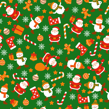Seamless pattern with Christmas elements: Santa Clause, snowmen, gift box, Christmas decoration, snowflakes, bell, gingerbread men. Vector.
