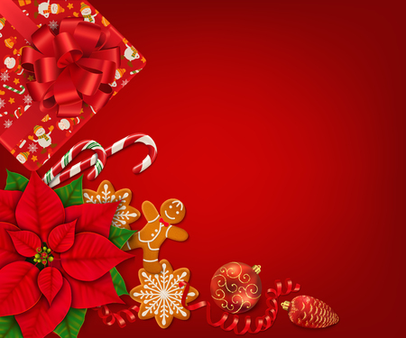 Horizontal Christmas banner with place for text. Poinsettia, gingerbread cookies, candy canes, Christmas ornaments and gift boxes on the bright red background.