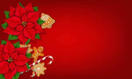 Horizontal Christmas banner with place for text. Poinsettias, gingerbread cookies and candy canes on the bright red background. Top view. Vector