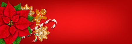 Horizontal Christmas web banner. Poinsettia, gingerbread cookies, candy canes and place for your text on the bright red background. Top view. Vector Vettoriali