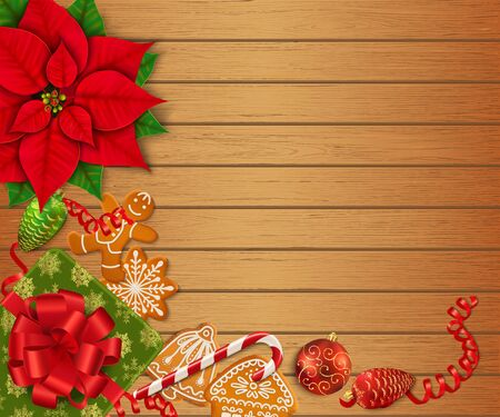 Horizontal Christmas banner with place for text. Poinsettia, gingerbread cookies, candy canes, Christmas ornaments and gift box on the wooden background. Top view. Vector