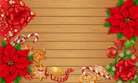 Horizontal Christmas background with place for text. Poinsettia, gingerbread cookies, candy canes, Christmas ornaments and gift boxes on the wooden table. Top view. Vector