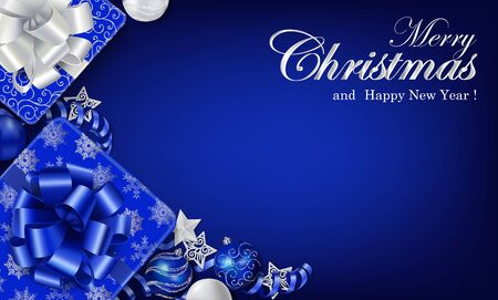 Horizontal Christmas banner in blue colors with place for your text. Gift boxes, Christmas ornaments and serpentine streamers on the deep blue background. Top view. Vector.